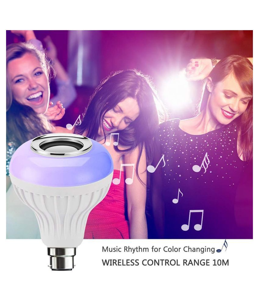 Music Light Bulb With Bluetooth Speaker, 7W, RGB Self Changing Color Lamp Built-In Audio Speaker-Pack of 1