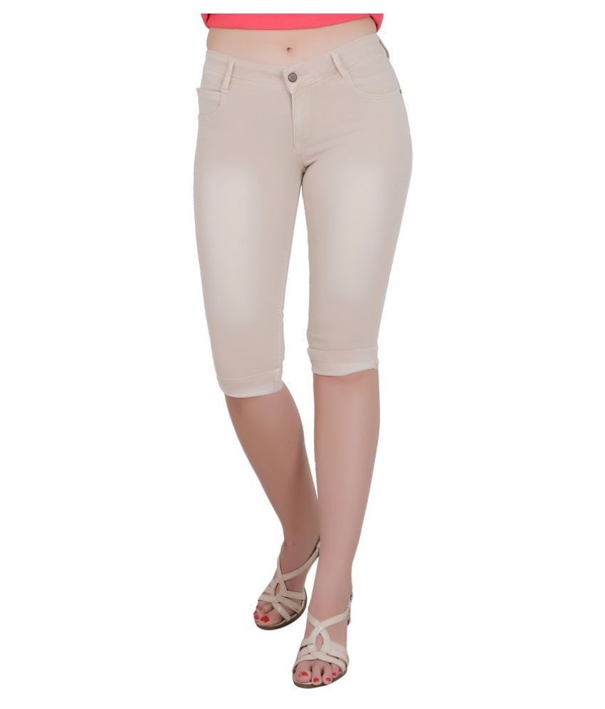 FORTH Beige Poly Spandex Washed Capri