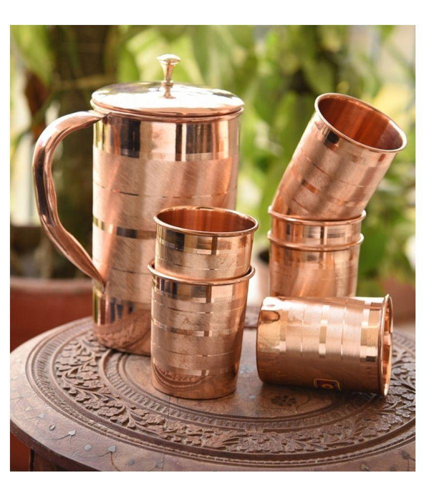 Generic COPPER 1 JUG 6 GLASS Copper Jugs 2000 mL