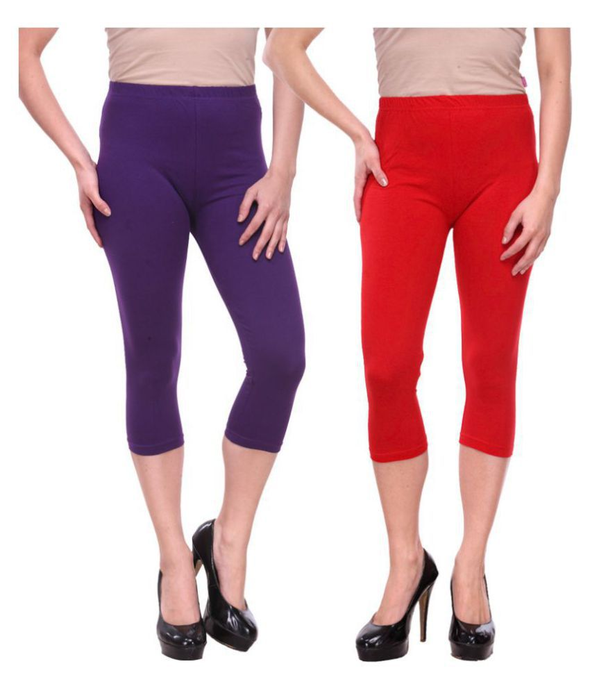 Famaya Multi Color Cotton Lycra Solid Capri