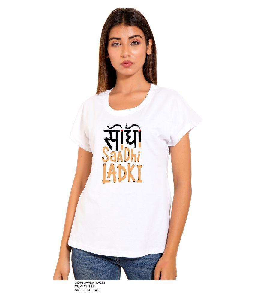 PINK GRAPES Cotton White T-Shirts