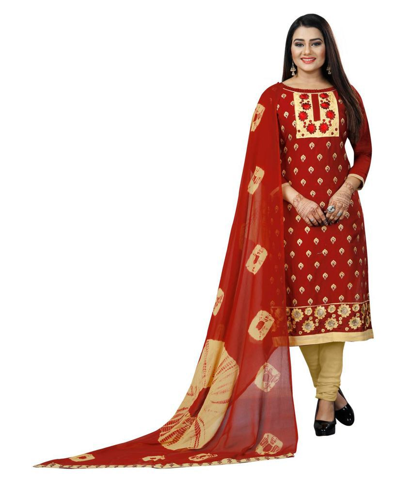 Salwar Studio Maroon Cotton Dress Material