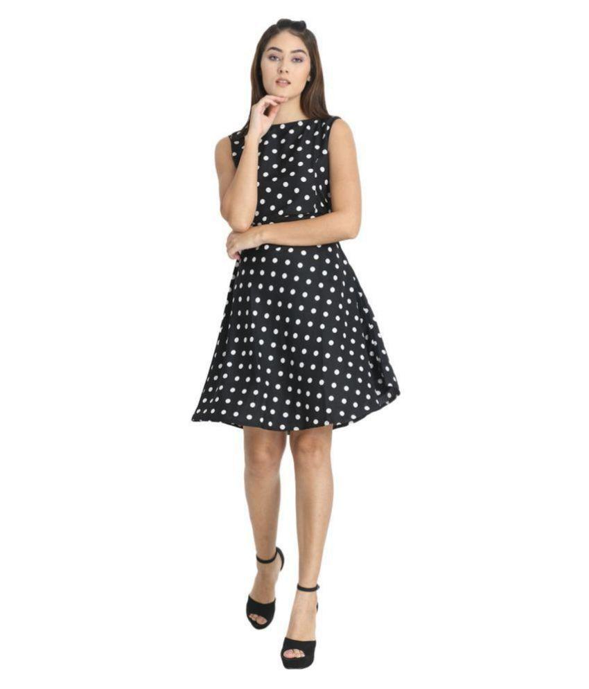Exxelo Crepe Black A- line Dress