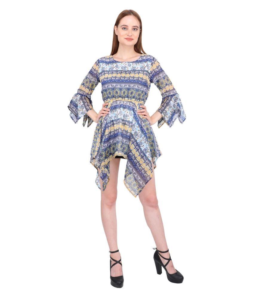 Aanetos Poly Cotton Multi Color Empire Dress