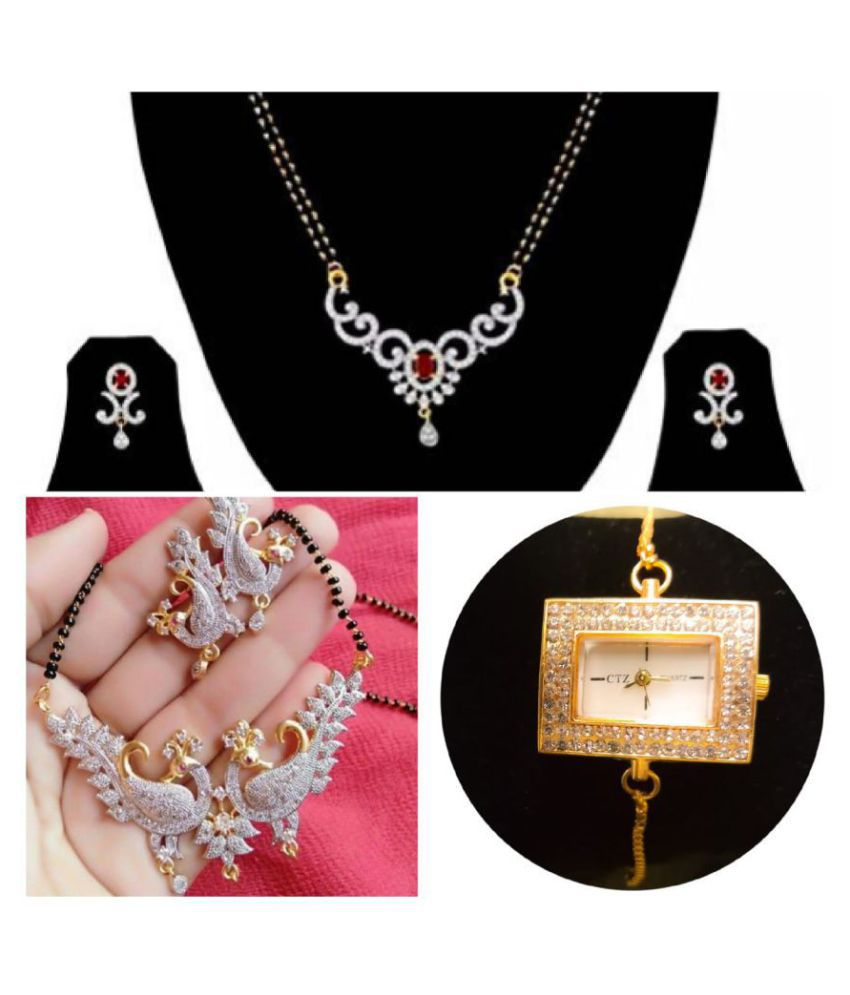 Navya COllection Gold Platted American Diamond Mangalsutra Set Combo With Bracelet Watch