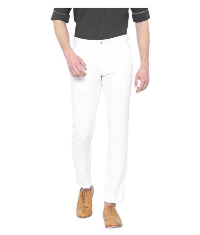 HALOGEN White Slim -Fit Flat Trousers