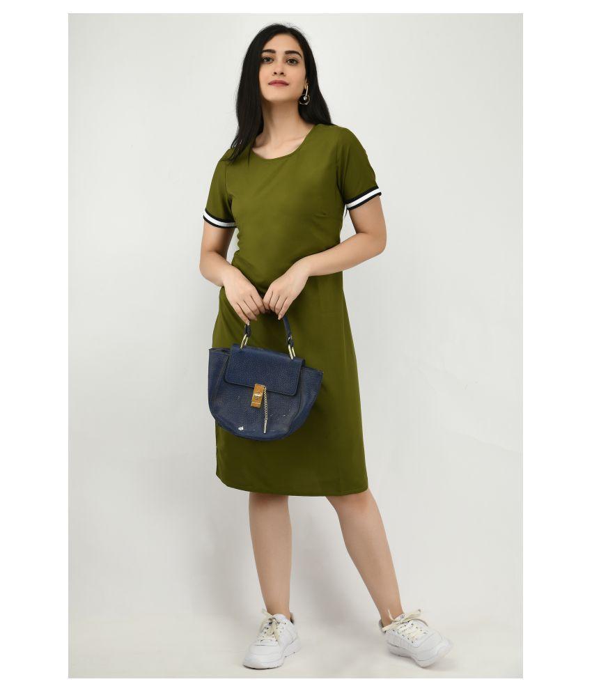 Ruby Creation Crepe Green T-shirt Dress