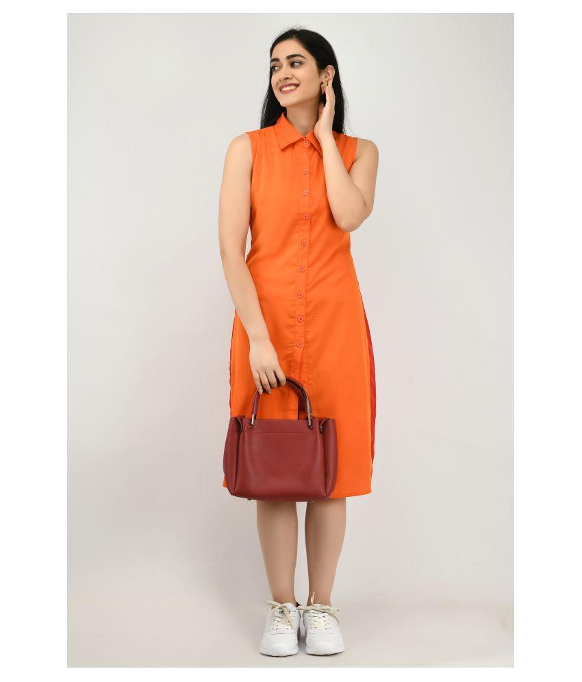 Ruby Creation Crepe Orange Shirt Dress