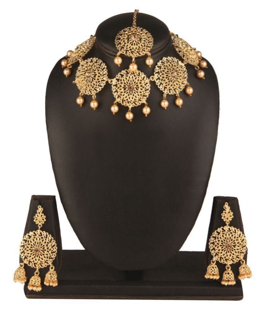 Kord Store Alloy Golden Choker Traditional Gold Plated Necklaces Set