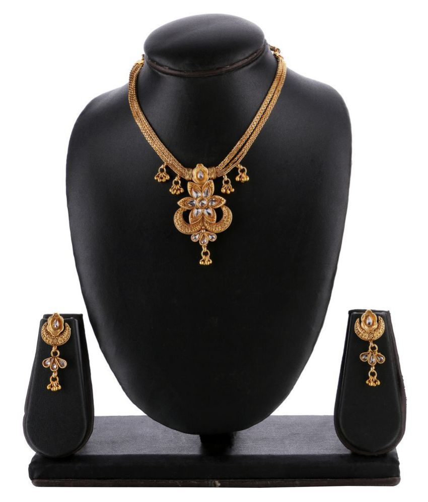 Kord Store Alloy Golden Princess Traditional Gold Plated Necklaces Set
