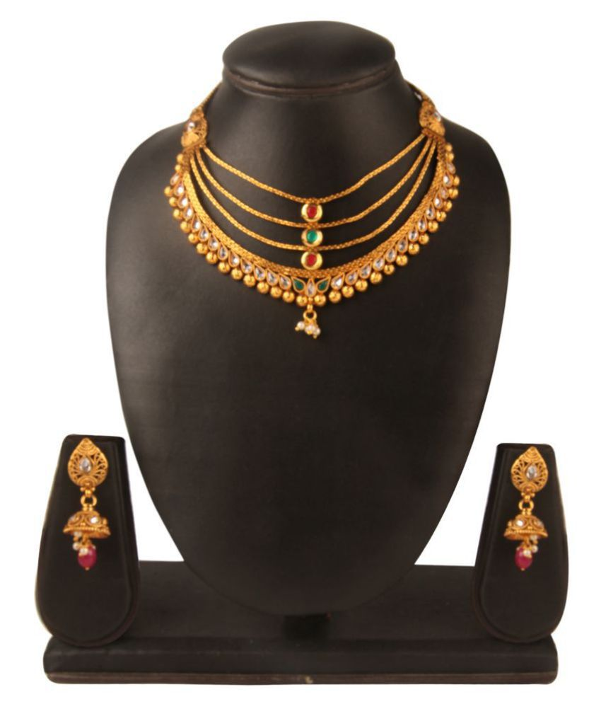 Kord Store Alloy Multi Color Princess Traditional Gold Plated Necklaces Set