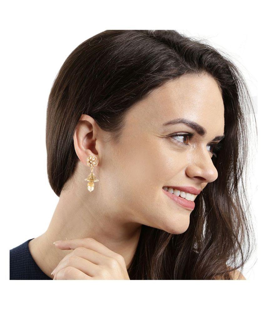 Kord Store Appealing Flower White Stone Gold Plated Jhumki Earring For Women