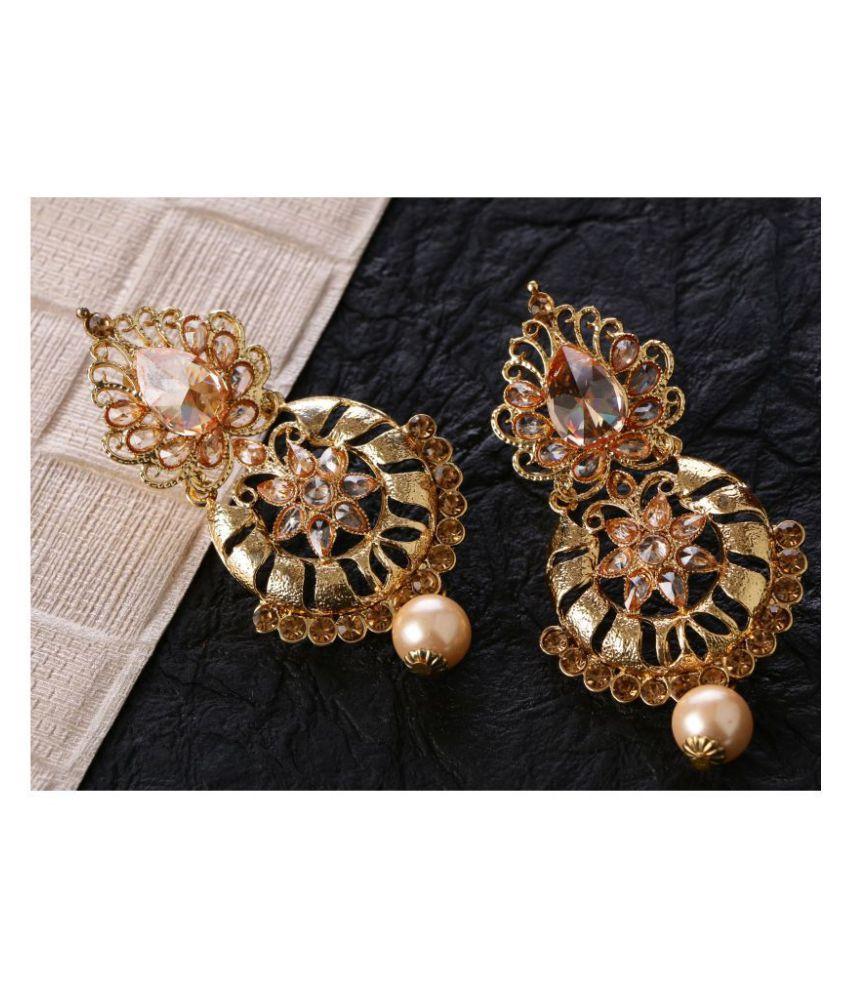 Kord Store Delightful Flower Design White Stone Gold Plated Chandilier Earring For Women