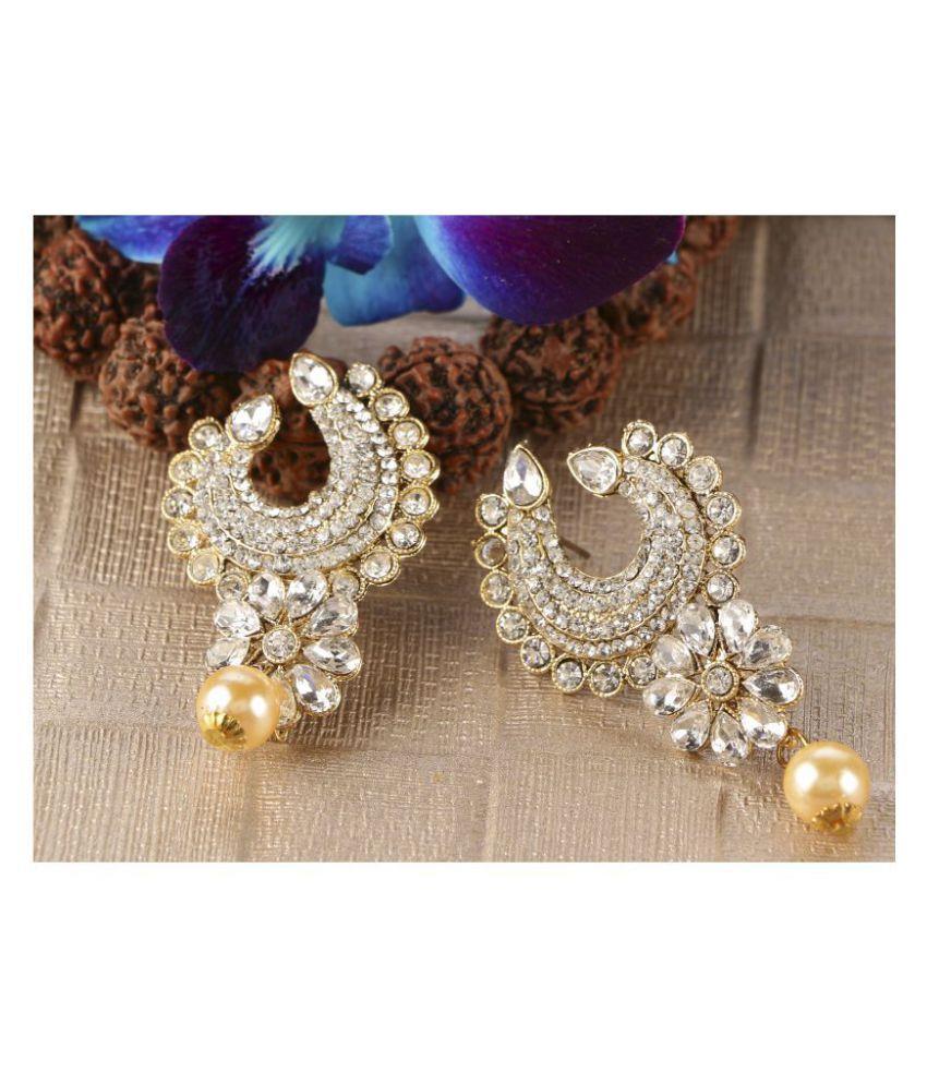 Kord Store Elegant Designer White Stone Gold Plated Chand Bali Earring For Women