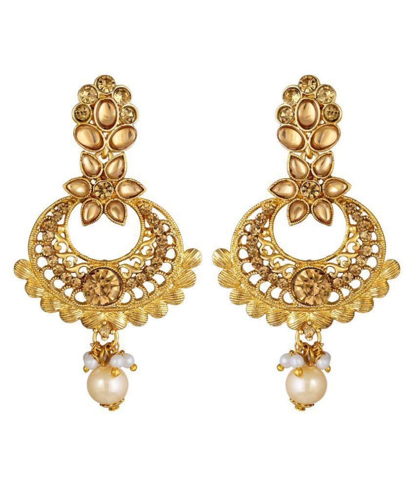 Kord Store Glorious Flower White Stone Gold Plated Dangle Earring For Women