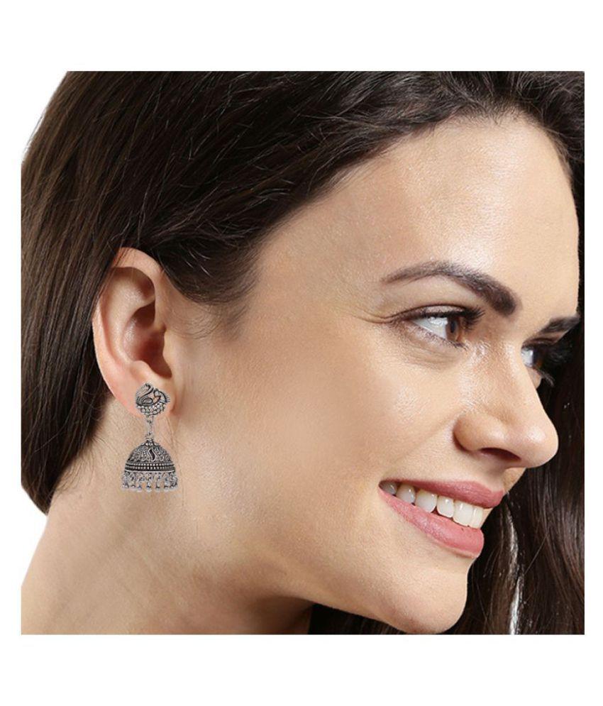 Kord Store Grey Non Precious Metal Peacock Earrings for Women