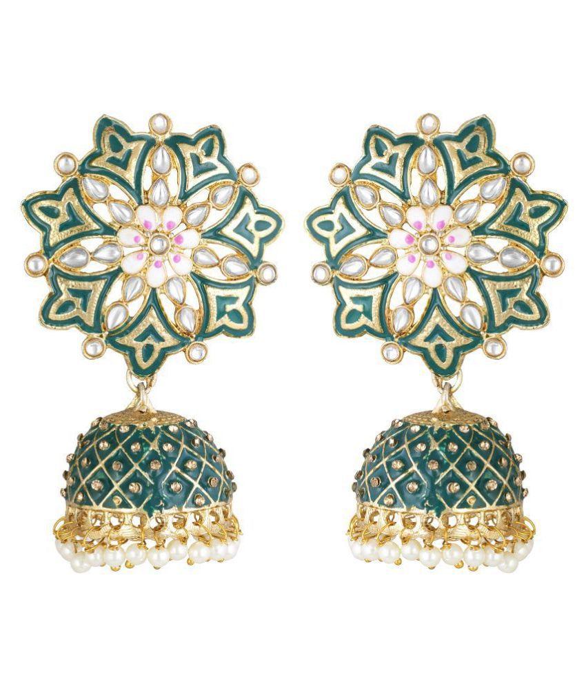 Kord Store Luxurious Flower Meenakari Work Gold Plated Jhumki Earring For Women