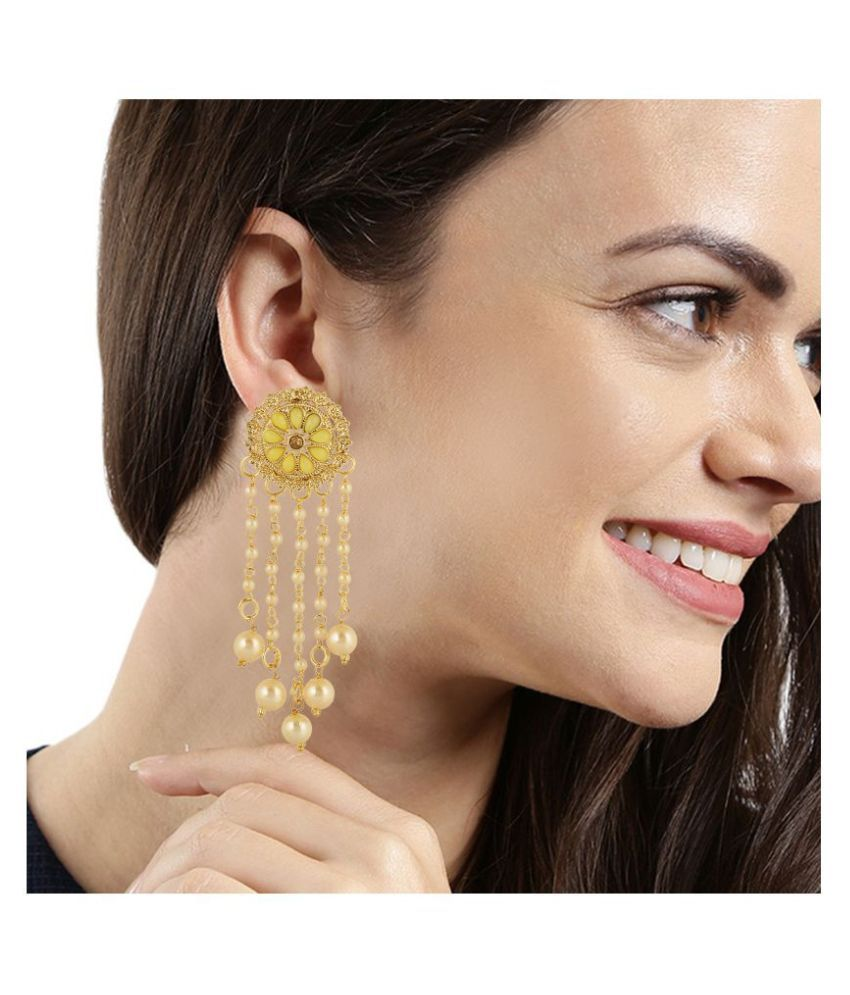 Kord Store Pretty Round Shape White Stone Gold Plated Dangle Earring For Women