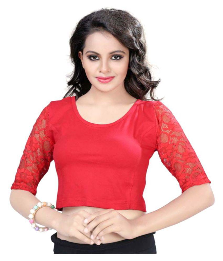 RAJA Red Polycotton Readymade without Pad Blouse