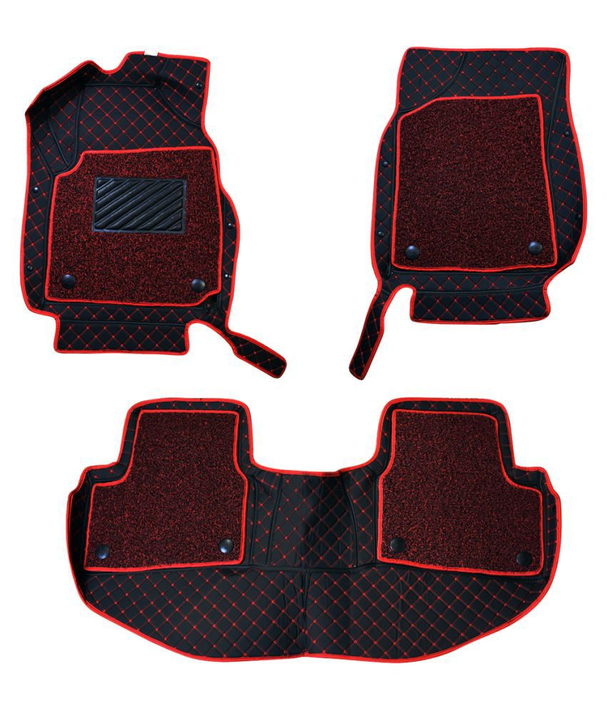 WIINE Leatherite 7D Car Mats For M.Benz E-250 2017 (Red)