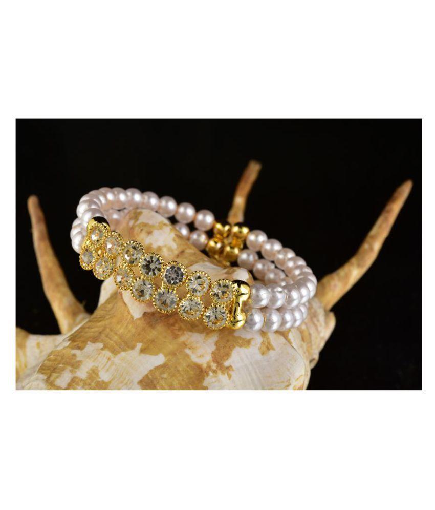 Kord Store Fancy Designer White Stone & Pearl Gold Plated Openable Bracelet For Women