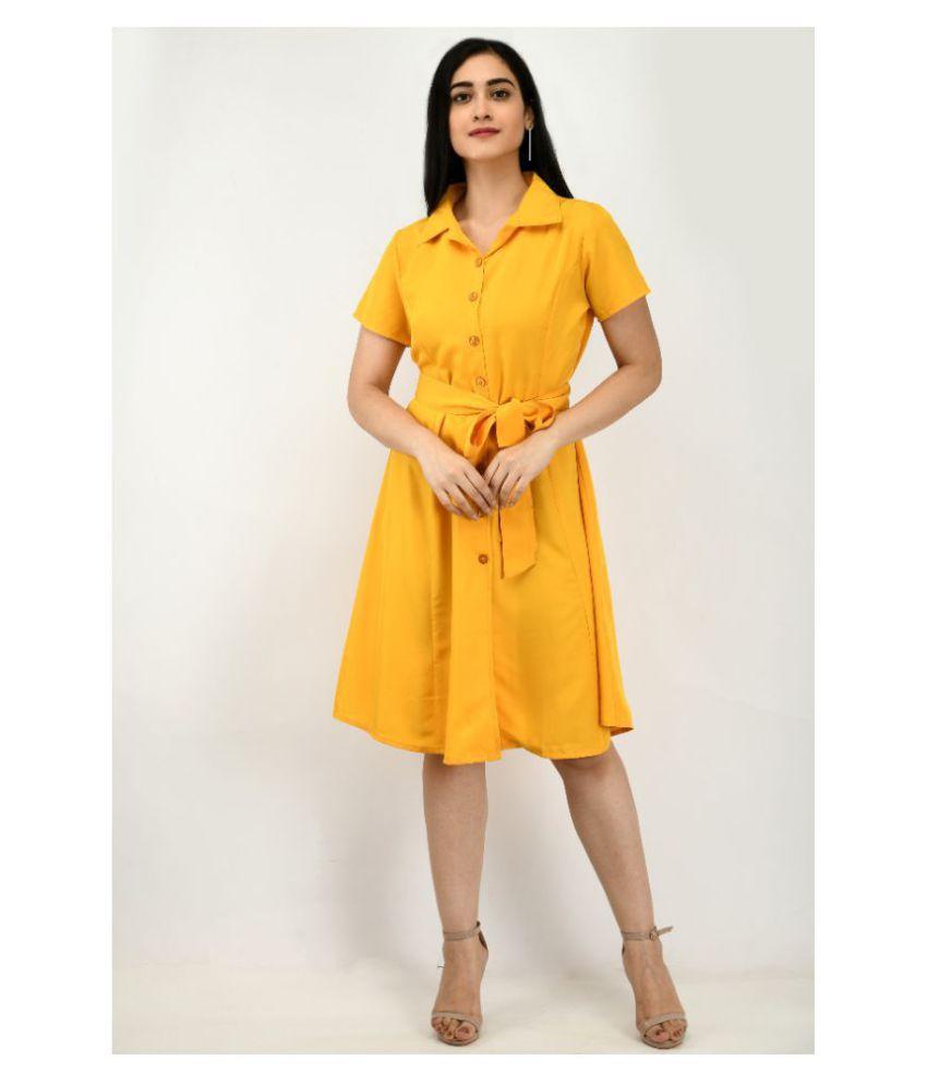 ALISHA_FASHION Crepe Yellow Shirt Dress