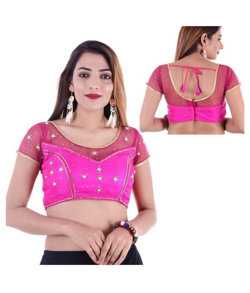 Bulbul Pink Art Silk Readymade with Pad Blouse