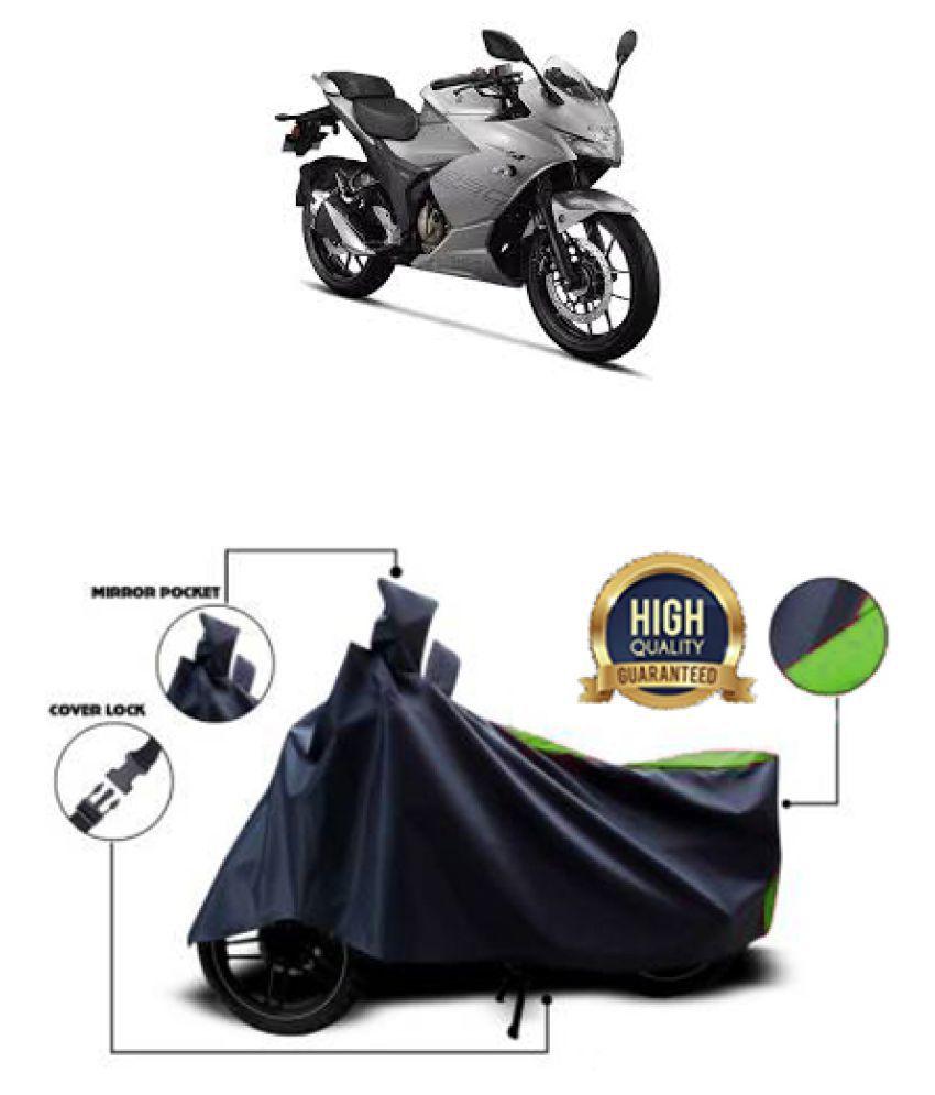 Motohunk two wheeler cover for Suzuki Gixxer SF 250 (Green, Black)