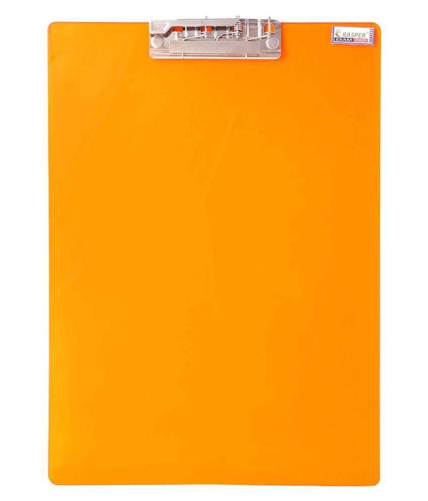 Rasper Orange Acrylic Clip Board Exam Pad (14x10 Inches) Premium Quality