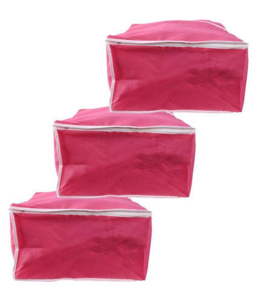 Bulbul Pink Saree Covers - 3 Pcs