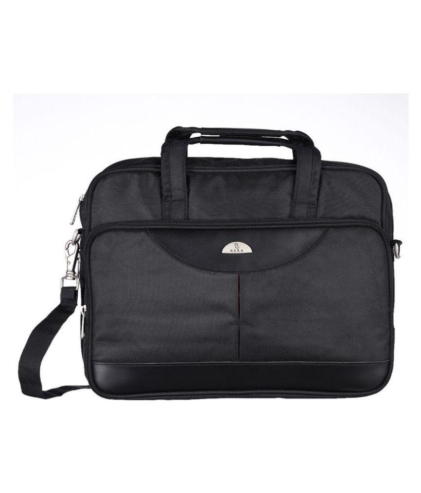Kara Black Nylon Office Bag