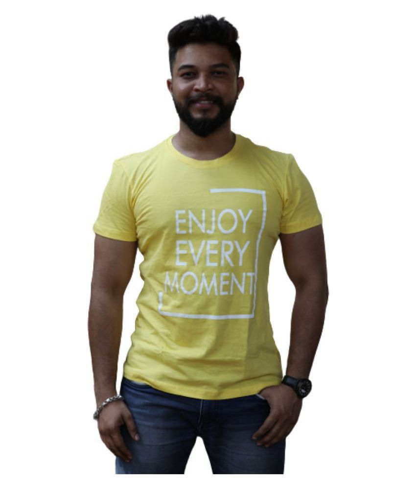 Leean Patterns Other Cotton Blend Yellow Printed T-Shirt
