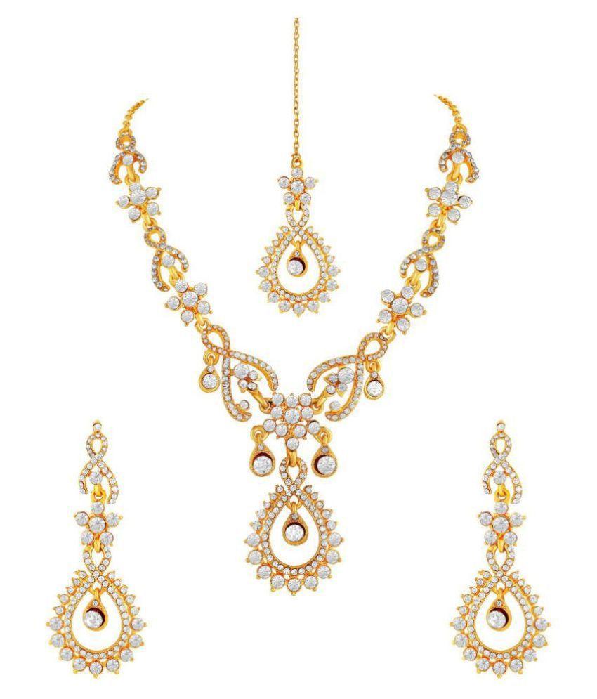 M J Fashion Jewellery Brass Golden Matinee Designer Gold Plated Necklaces Set