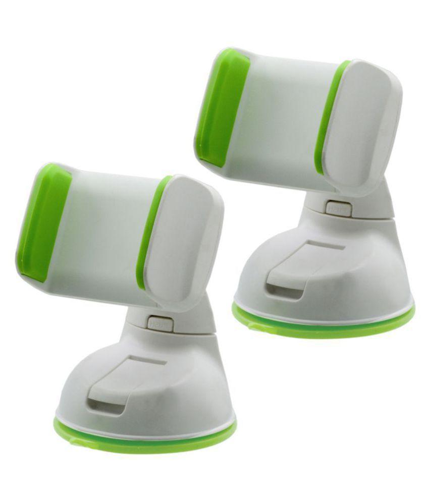 SJ Car Mobile Holder Single Clamp for Dashboard  amp; Windshield   White