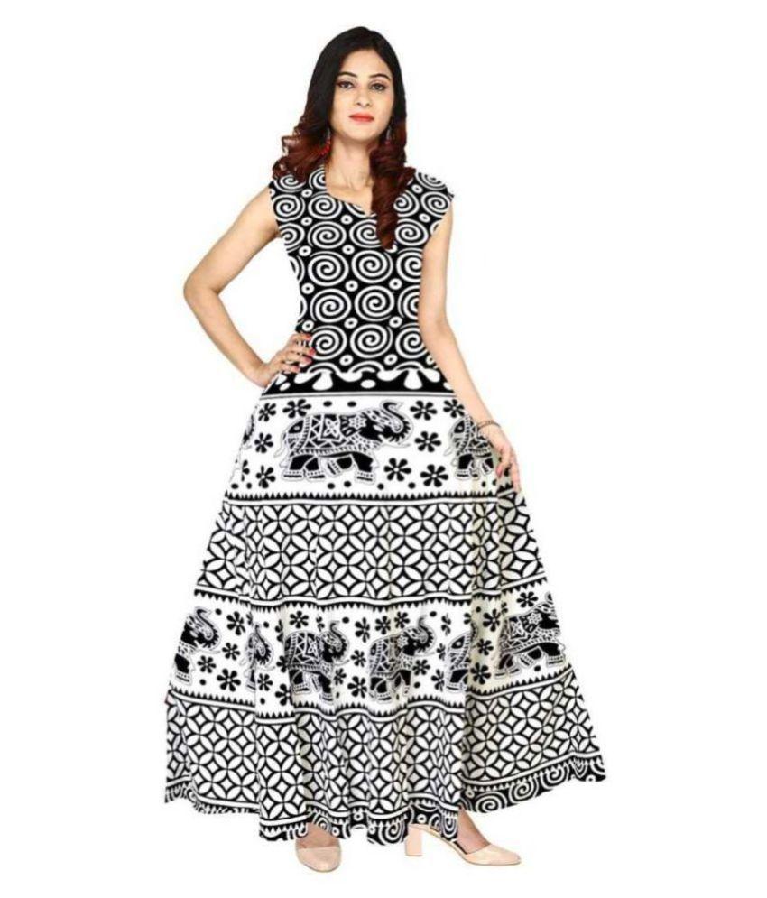 Frionkandy Cotton Black A- line Dress