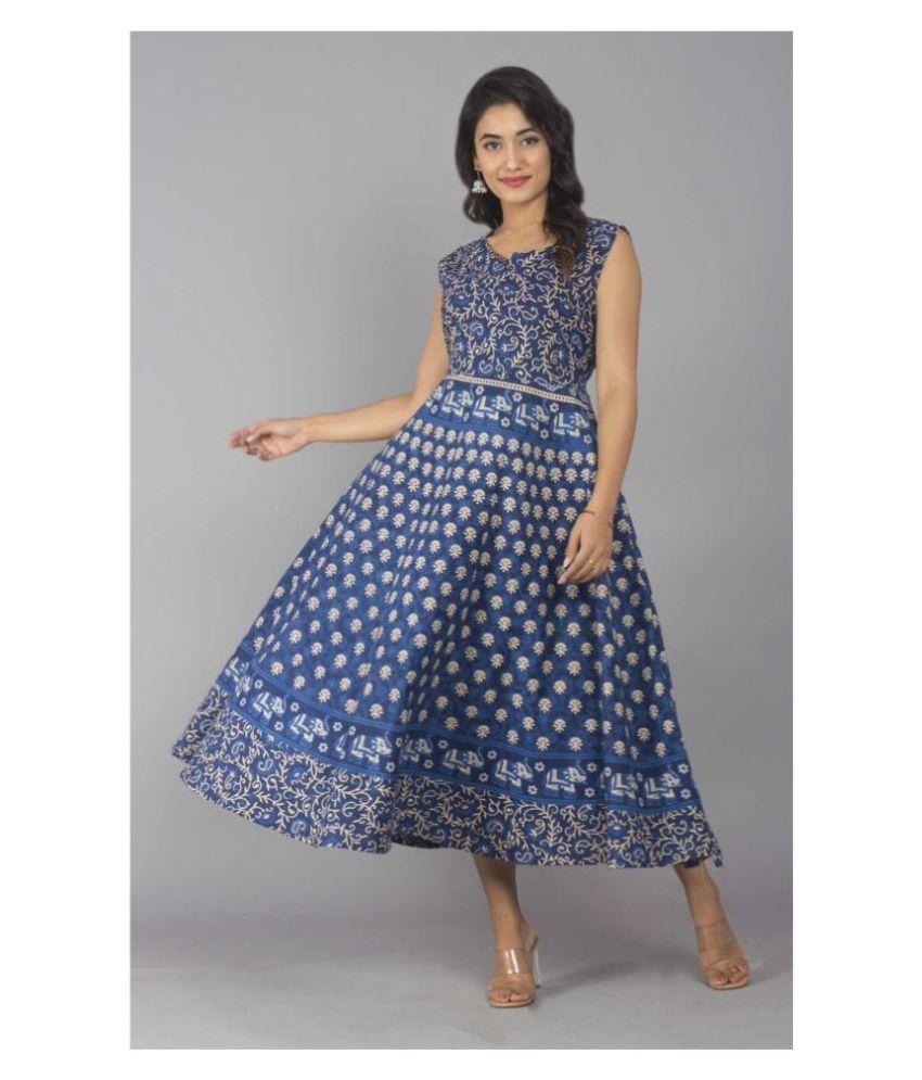 Frionkandy Cotton Blue A- line Dress