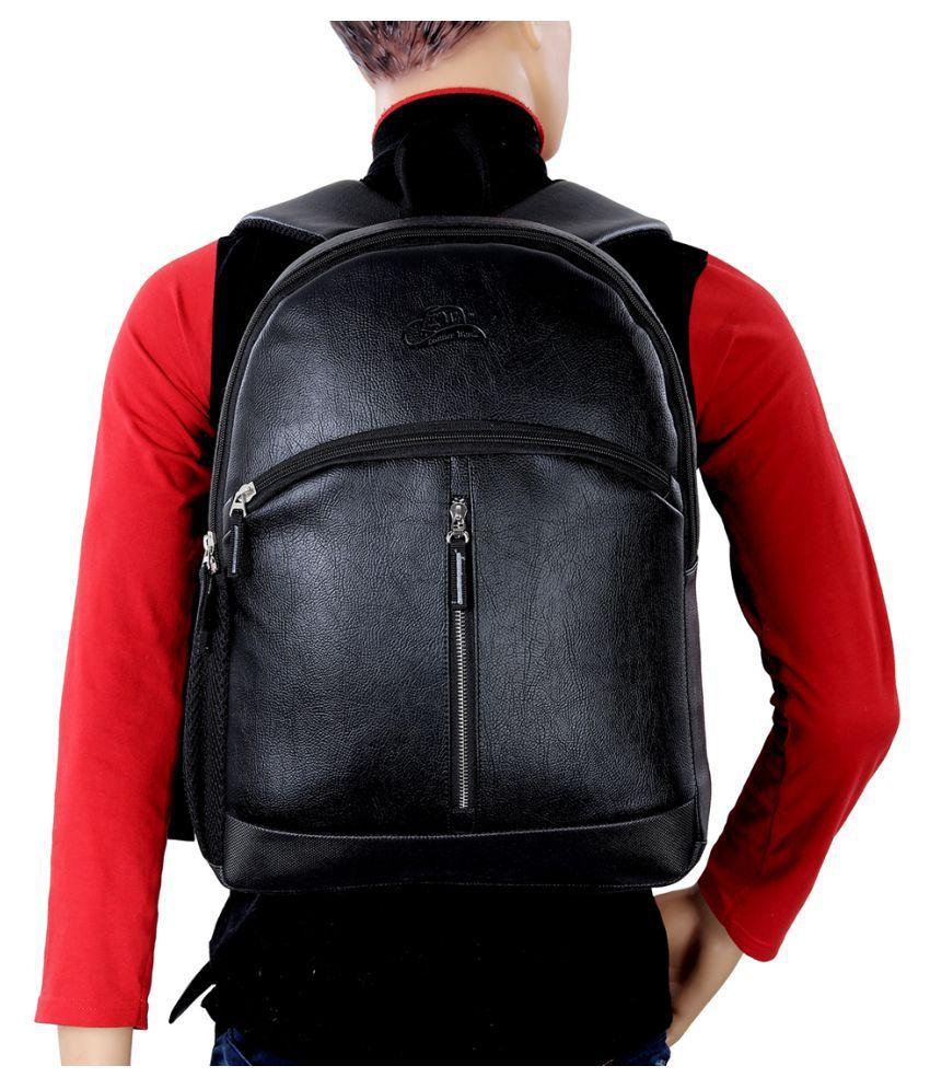 Leather World Black P.U. College Bag