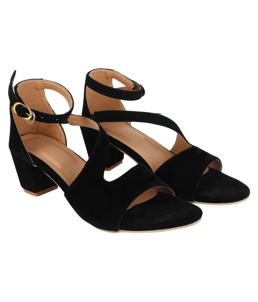 MESHVA Red Block Heels