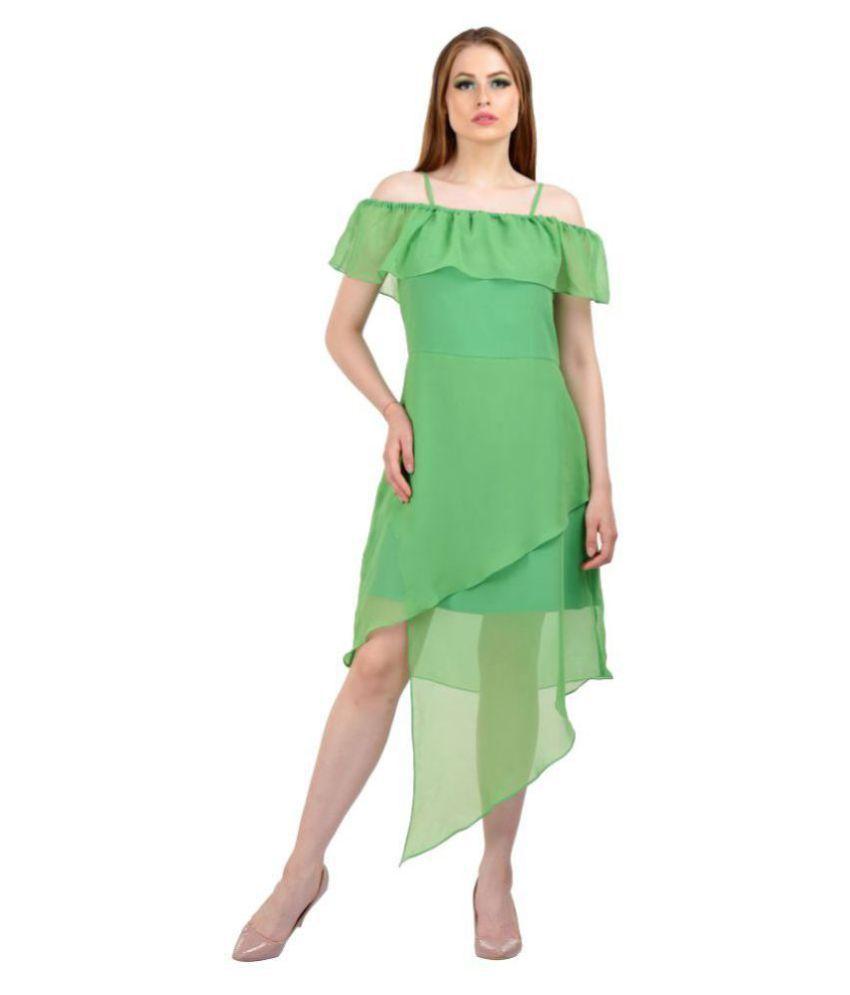 Karmic Vision Georgette Green A- line Dress