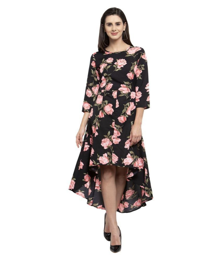 Karmic Vision Crepe Multi Color A- line Dress