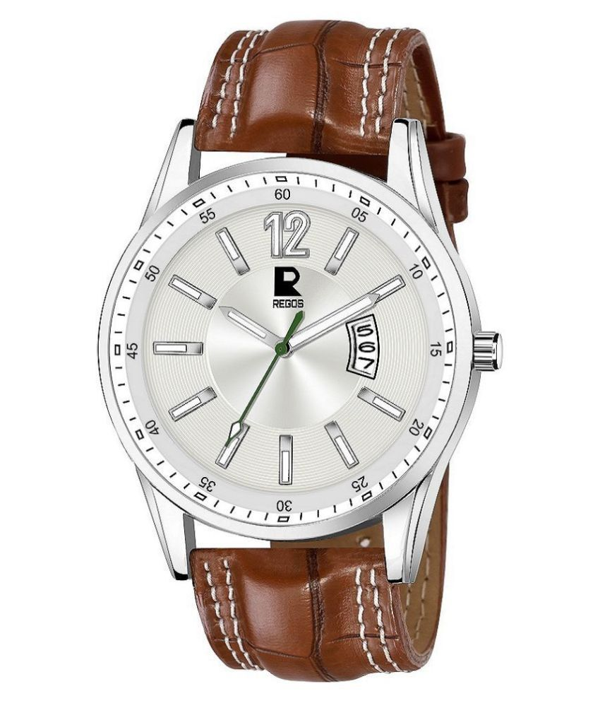 REGOS 9322 brown strap Leather Analog Men #039;s Watch