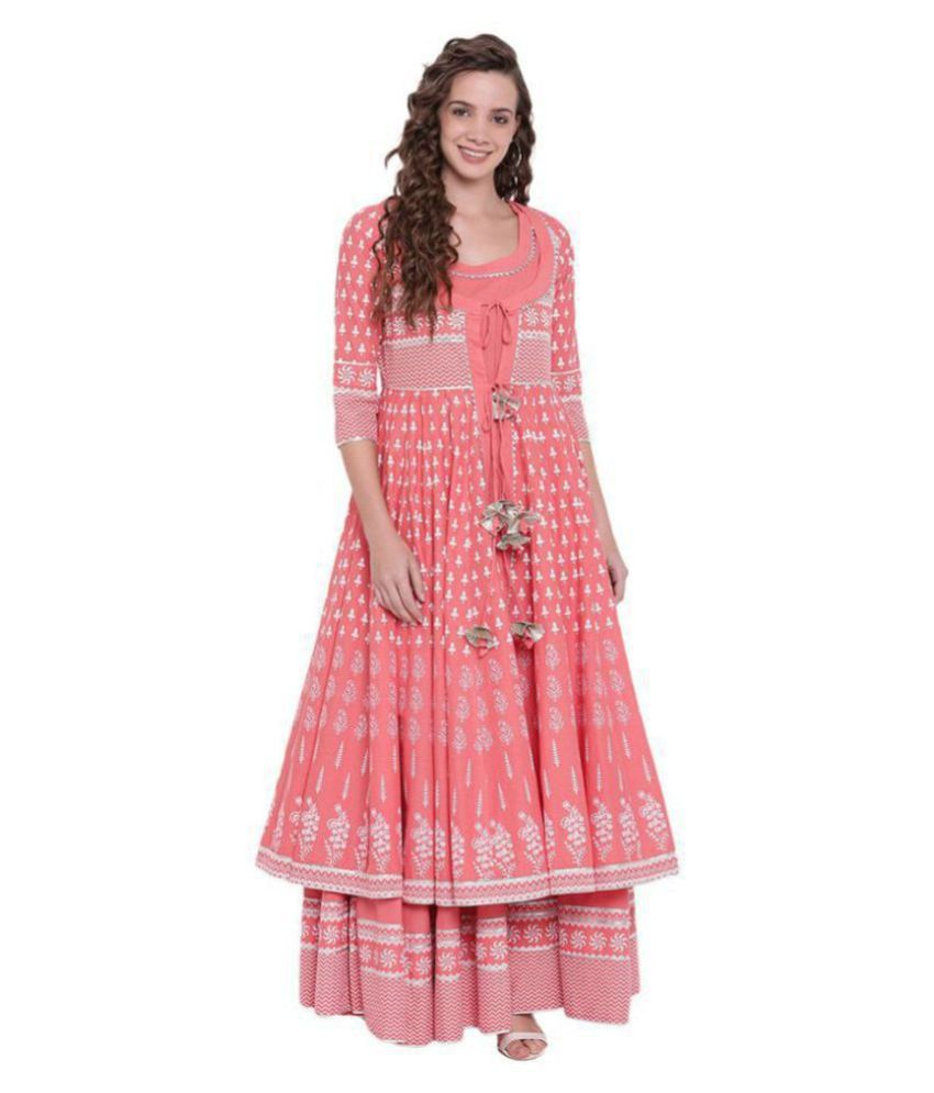 Divena Pink Cotton Double Layered Kurti