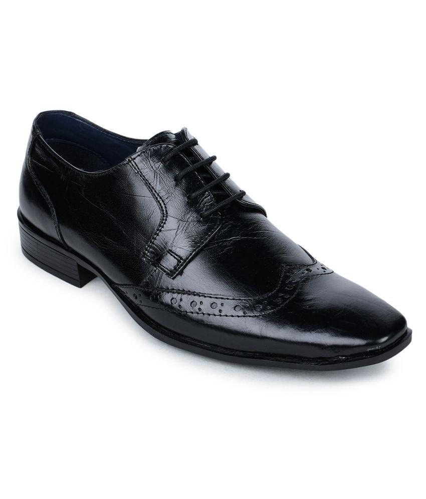 Bruno Manetti Genuine Leather Black Formal Shoes