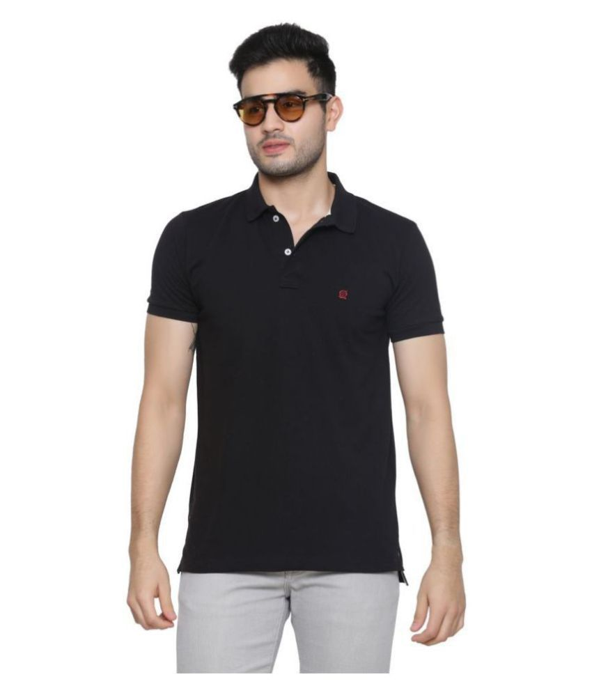 GENTINO Cotton Blend Black Plain Polo T Shirt