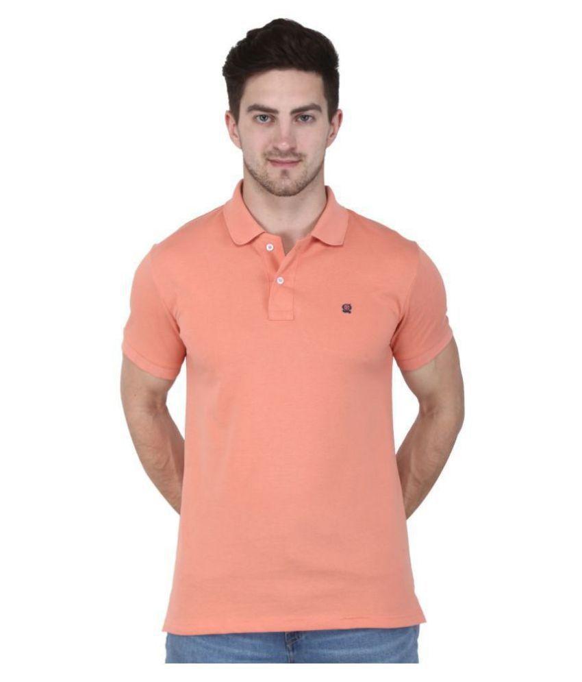 GENTINO Cotton Blend Peach Plain Polo T Shirt