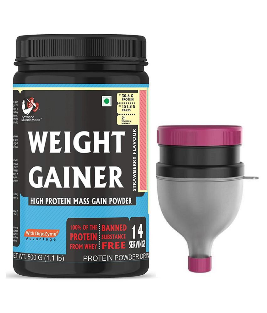 Advance MuscleMass Weight Gainer Digestive Enzyme With Protein Funnel 500 gm Weight Gainer Powder