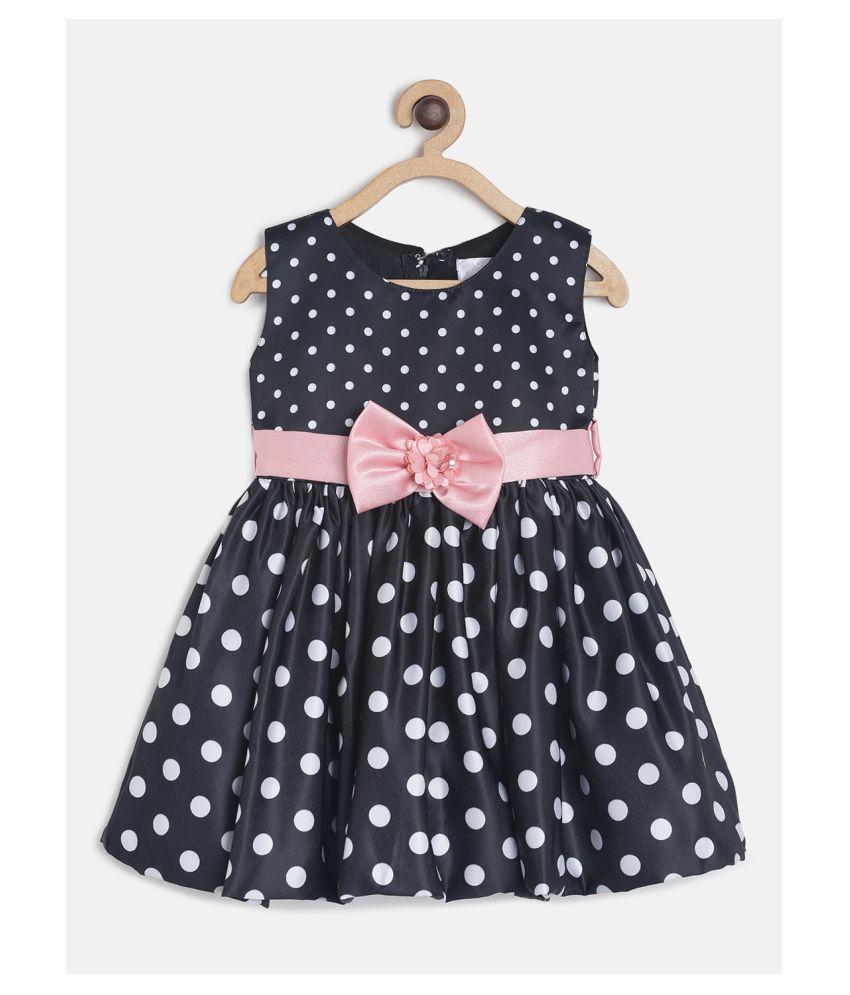 Tales & Stories Baby Girls Black & White Polka Dot Print A-Line Polyester Dress