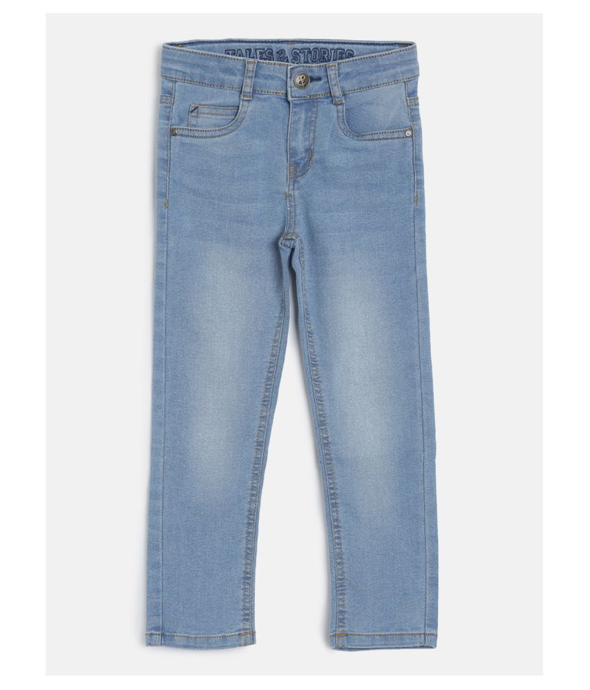Tales & Stories Boys Solid Slim Fit Ligh Blue Cotton Faded Jeans