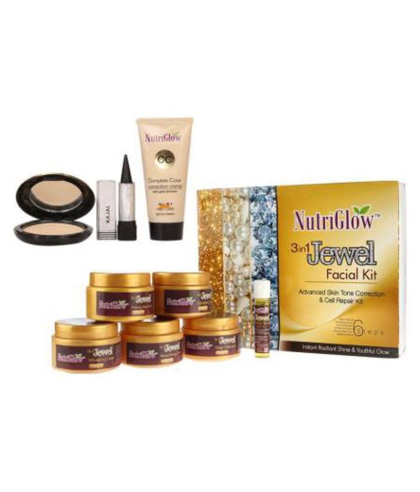 Nutriglow 3 in1 Jewel Facial Kit 260g+CC Cream+Kajal+Compact g Pack of 4
