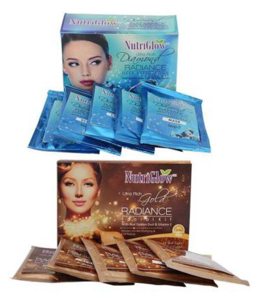 Nutriglow Diamond Radiance Facial kit 55 g Pouch+ Gold Radiance Pouch Facial Kit 55 g Pack of 2